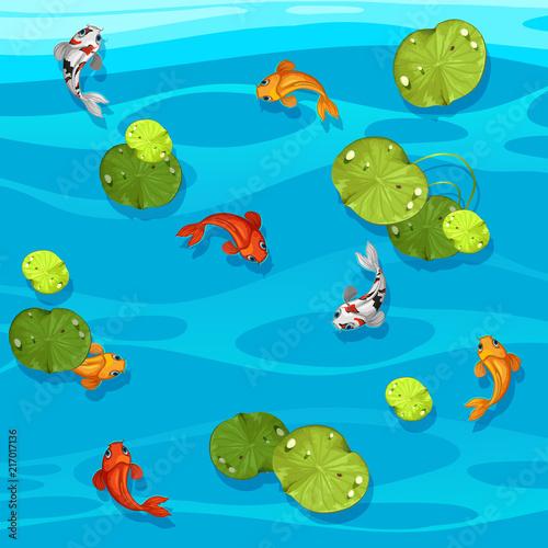 Fotobehang Kids Large koi fish in pond