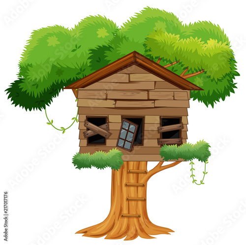 Fotobehang Kids Old broken tree house