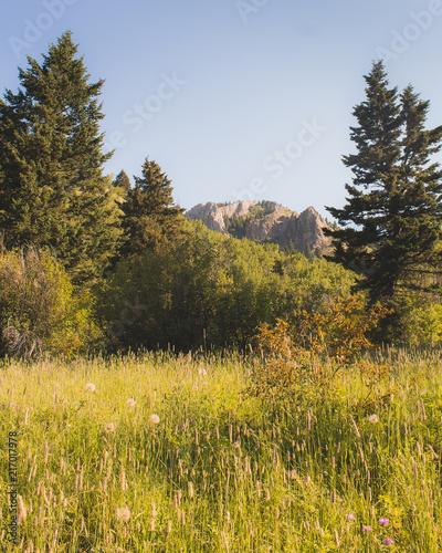 Foto Spatwand Blauwe hemel Distanct Ridge