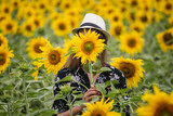 Young beautiful woman wearing a hat in a field of sunflowers