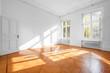 Leinwandbild Motiv empty room in beautiful flat with wooden  floor - real estate interior