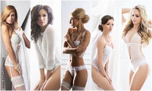 Kolekcja bielizny białej. Seksowne panny młode w erotycznej bieliźnie. Bielizna kolaż.