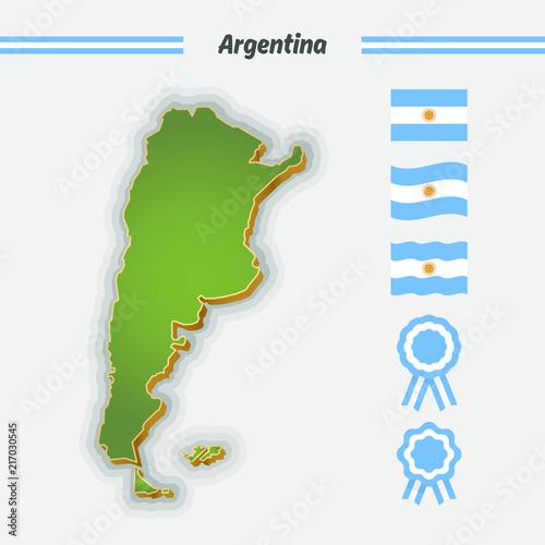 Map Flag And Cockade Of Argentina Argentine National Symbols Buy