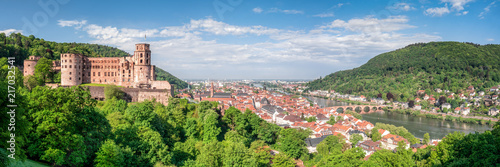 Leinwandbild Motiv Heidelberg Panorama mit Altstadt und Schloss