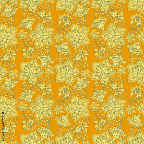 Cute flower seamless pattern. Floral vector texture - 217032992