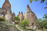 Cave houses carved into Tufa Rocks in Zelve Valley, Cappadocia, Anatolia, Turkey. The rock sites of Cappadocia are a UNESCO World Heritage Site.