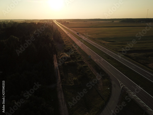 Road in top view