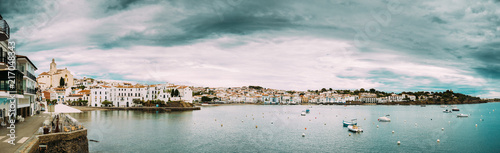 Canvas Barcelona Cadaques, Province Of Girona, Catalonia, Spain. Panoramic View Cityscape