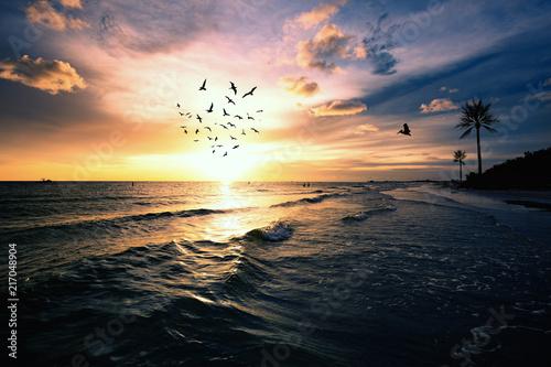 Foto Spatwand Strand Sunset Beach dramatic evening