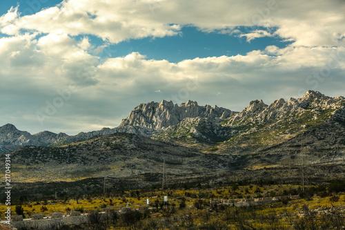 Fotobehang Beige Mountain landscape in Croatia