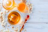 Acacia tea close up on wooden tables - 217051364