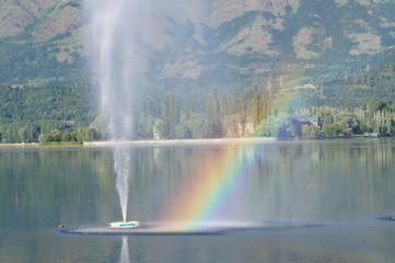 Rainbow meeting water at Dal Lake Srinagar, J&K