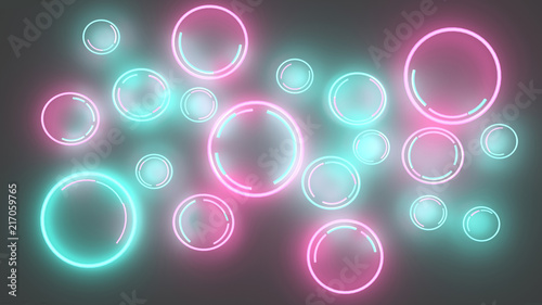 3d illustration of neon multicolor blue red bubbles on grey background