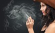Leinwanddruck Bild - Beautiful elegant girl smoking