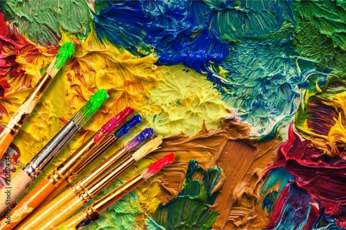 Foto Murales Different Artist brushes close-up view