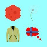 nature vector icons set. dandelion, raincoat, meteorite and norway in this set