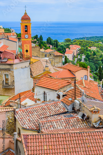 Foto Murales Stunning views of the coast from the medieval village of Roquebrun Cap Martin. Cote d'Azur. France