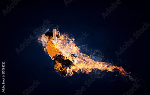Foto Spatwand Basketbal Basketball Player on Fire