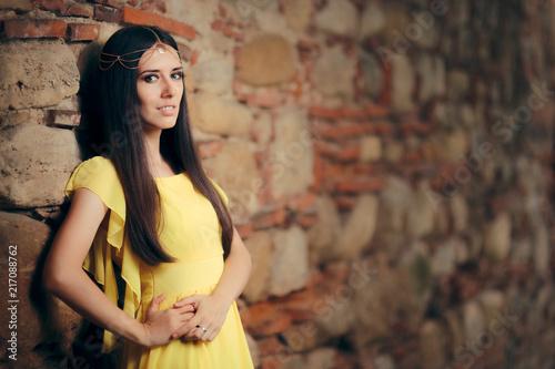 Leinwandbild Motiv Beautiful Medieval Princess Fairy Tale Fantasy Portrait
