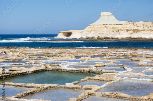 Fotobehang Beige Gozo Island Natural Salines and Limestone Formations .