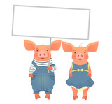 Cute pig holding sign