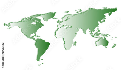 Foto Spatwand Wereldkaarten flat white world map silhouette angle view with shadows on a white background.