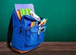 Blue School Backpack on background