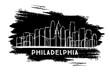 Philadelphia City Skyline Silhouette. Hand Drawn Sketch.