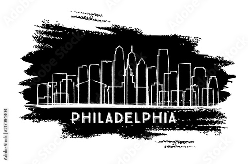 Fridge magnet Philadelphia City Skyline Silhouette. Hand Drawn Sketch.
