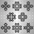 Set of decorative elements in vintage style. Seamless silver background. Vector illustration