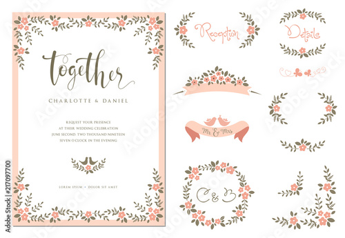 Wedding graphic set with branches, flowers, birds, butterflies, laurels, banners and frames.  - 217097700