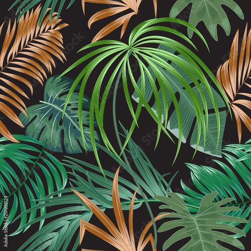 Tropikalnej rośliny bezszwowy wzór, tropikalni liście drzewko palmowe.