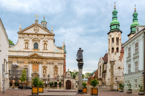 The architecture of the beautiful church of Peter and Paul in Krakow
