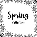 Spring with floral hand drawn frame vector illustration