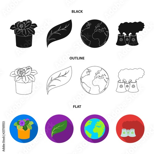 A processing plant, flowers in a pot, a green leaf, a planet Earth.Bio and ecology set collection icons in black,flat,outline style vector symbol stock illustration web.