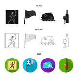 Greece, running, wine, flag .Greece set collection icons in black,flat,outline style vector symbol stock illustration web.