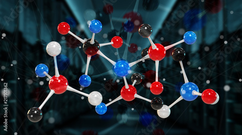 Modern digital molecule structure 3D rendering - 217101362