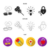 Cups with coffee, valentine, lamp, lock with key. Romantic set collection icons in black,flat,outline style vector symbol stock illustration web.