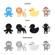 An unrealistic cartoon,black,monochrome animal icons in set collection for design. Toy animals vector symbol stock web illustration.