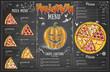 Vintage chalk drawing halloween menu design. Restaurant menu