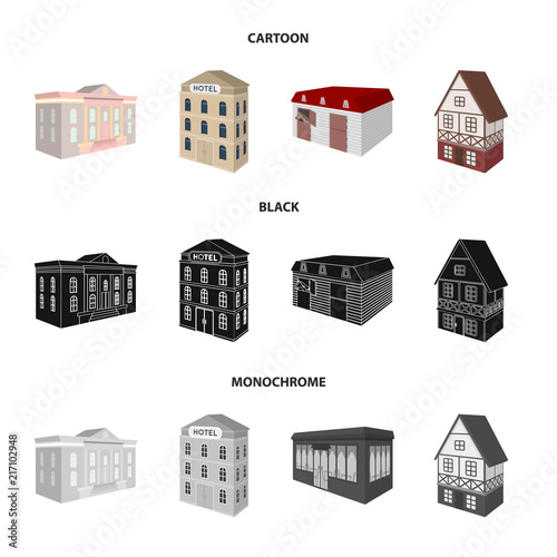 The museum building, a three-story hotel, a stable at the racecourse, a residential cottage. Architectural and building set collection icons in cartoon,black,monochrome style vector symbol stock