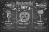 Vintage chalk drawing halloween menu design. Restaurant menu - 217104783
