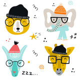 Collection of cute baby animals muzzle with glasses and knitted hats in scandinavian style.