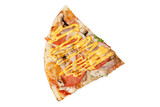 Pizza slice isolated on white background top view
