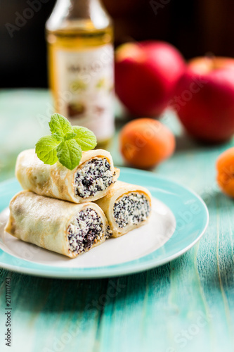 Pancakes with cottage cheese and poppy seeds