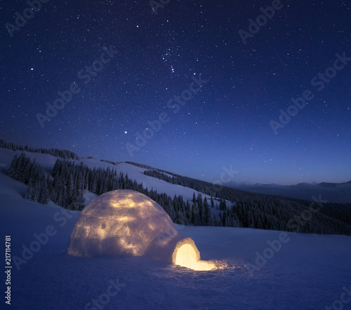 Foto Murales Winter night landscape with a snow igloo and a starry sky