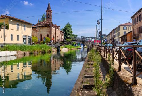 Plexiglas Milan Milano, Navigli e Chiesa di San Cristoforo