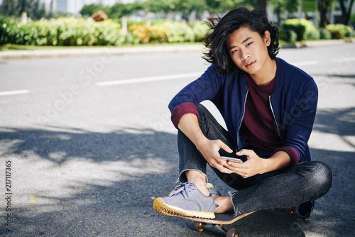 Handsome skateboarder