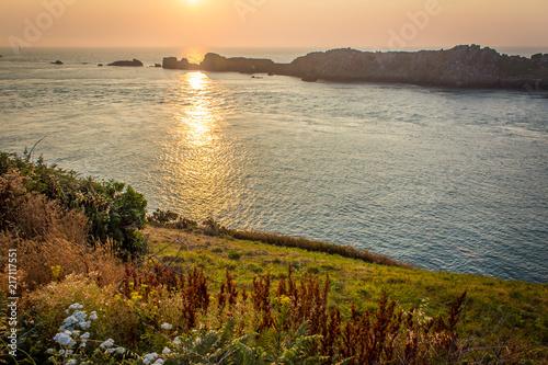 Canvas Zee zonsondergang Saint Malo surroundings
