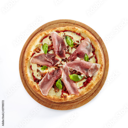 Canvas Pizzeria Pizza with Parma Ham Isolated on White Background
